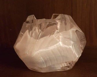 kosta boda vintage crystal glass votive candle holder label to base
