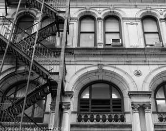 Black and White Financial District Architecture Art Print Fire Escape Photography New York City NYC Industrial Urban Home Decor Wall Art