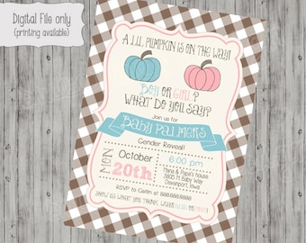 Pumpkin Checkered Chalkboard Gender Reveal Party, pink, blue baby shower invitation, digital, girl, boy,wood, fall baby shower invite