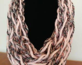Arm Knit Scarf | Longer Length | Pink and Gray