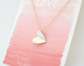Folded Heart Valentine Necklace - Valentine's Day Gift - Valentine Jewelry - Heart Necklace Gift For Her - Sweetheart Gift - Love Jewelry