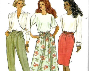 Butterick 5857 Misses/ Miss Petite A-line Or Tapered Skirt And Pants Pattern, 12-14-16, UNCUT