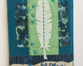 "Art Quilt Collage by Deborah Boschert, ""Lightly"" feather mixed media embroidery"
