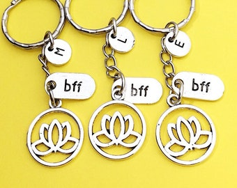 Lotus Keychain - set of 3, Keychain Gift, BFF Keychain for 3, Lotus Jewelry, Personalized Custom Keychain, Flower Keychain, Gift for Friend