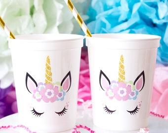 Unicorn Birthday Cups, Unicorn Party Cups, Unicorn Party Decor, Unicorn Lover, Unicorn Cup, Unicorn Stadium Cup, Plastic Cups, 16 oz Stadium