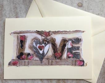 Fiddlestitch Love Card, Engagement, Wedding, Love. Love Greetings Card.