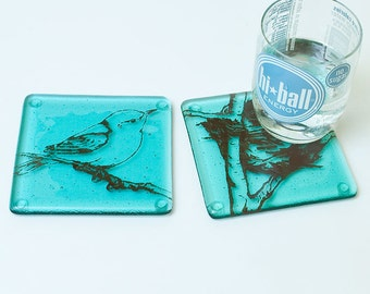 Bird Fused Glass Coaster 2-pack, bird coaster, nature coaster, bar coaster, fused glass, set of 2