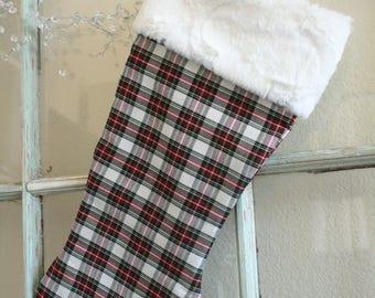 Christmas Plaid Stocking--Fur Cuff #18