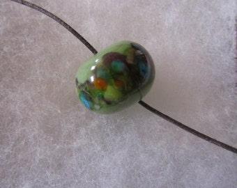 Green Focal Handmade Lampwork Glass Bead for Jewelry Making, Green Glass Focal Bead for Jewelry Making, Green Focal Bead for Jewelry Making