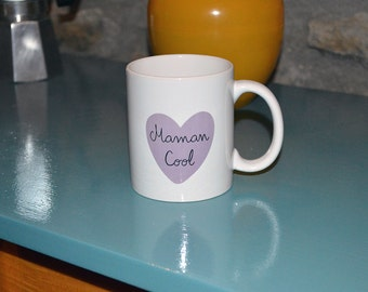 """Mug """"Cool Mom"""" mug birthday party of the mothers MOM color purple heart parents family"""