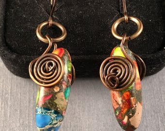 Rainbow Variscite Earrings, Antique Copper Dangle Earrings, One of a Kind, 1.75 Inches Long .25 Inches Wide