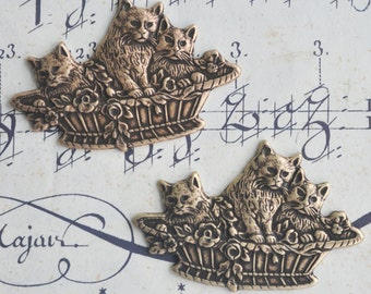 TWO Neo Victorian Brass Kitten Baskets charms with FOUR HOLES, Brass ox Stampings, Brass Stampings