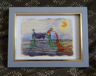 """Watercolor """"Monster under the bed"""" A6 framed * A monster under the bed framed A6 Watercolour *."""