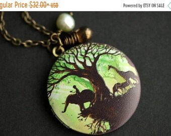 SUMMER SALE African Safari Locket Necklace. African Necklace. Safari Necklace with Brown Teardrop and Fresh Water Pearl. Green Necklace. Pho