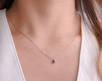 Tiny Black Spinel Charm Necklace, Sterling Silver, Gold Plated, Minimalist Choker Necklace, Everyday Necklace, Gift for Her, Lunai NCK102BSP