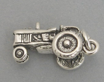 Sterling Silver 925 Charm Pendant 3D FARM TRACTOR 2390