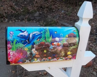 Painted and or other mixed media Mailbox-2 Dolphins and Tropical Reef