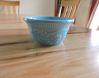 Mid-Century TST Oven-Serve Ware Single Casserole, Taylor Smith and Taylor Pottery Individual Custard, Vintage Aqua Dish with Floral Design