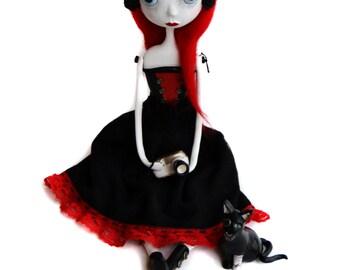 Custom Art Doll - OOAK Art Doll - Gothic Art Doll - Gothic Cat