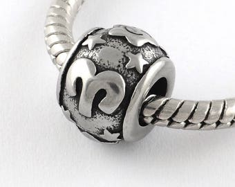 Stainless Steel Aries Charms Astrology Charms Horoscope Charms Aries European Beads For European Charm Bracelets #14-SB