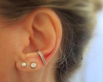 SINGLE suspender earring, Sterling silver ear suspender, Ear cuff, Minimalist earring