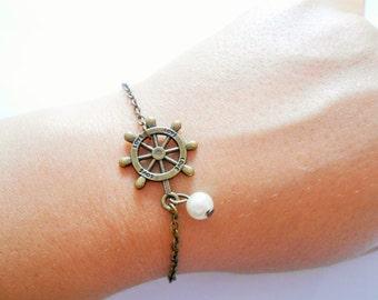 love bracelet - marine Bracelet - nautical bracelet - rudder bracelet - Charm bracelet - boat bracelet - summer bracelet - pendant