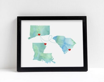 Any Three States Love Wedding Gift Personalized State Watercolor Series Art Print Long Distance Map Art Engagement Water Color Gift