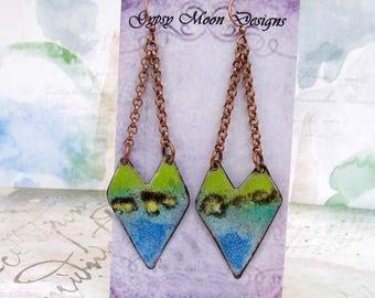 Statement earrings Bohemian earrings Geometric Earrings Rustic Enamel Jewelry Tribal Earrings  Dangle Drop