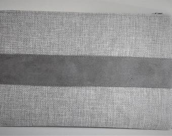 grey linen and suede clutch wallet makeup bag pouch