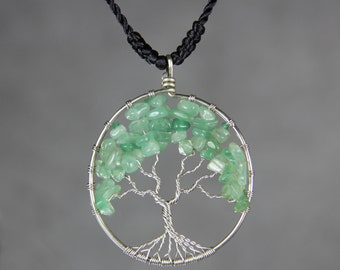 Jade tree of life branch wiring pendant necklace Free US Shipping one day processing handmade Anni Designs