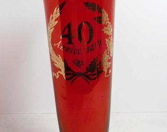 40th Anniversary Ruby Glass Bud Vase Flower Vase Gold Leaf Home and Garden Home Decor Vases Glass Ruby Glass Bud Vase