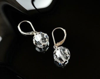 Sterling silver earrings faceted crystal balls beads 925 dangling sparkling lever bridal party wedding