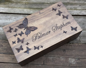 Butterfly wedding wine box, Custom Personalized Double Wine Box, First Fight Box, Card box, Memory Box, wine box ceremony, anniversary gift