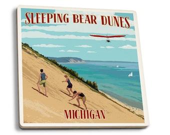 MI - Sleeping Bear Dunes - LP Artwork (Set of 4 Ceramic Coasters)