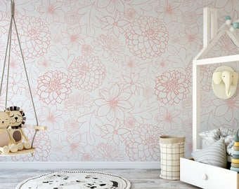 Small Pink Dahlia Removable Wallpaper // Cute Flower Peel and Stick Wallpaper // Self-Adhesive Reusable Wall Mural