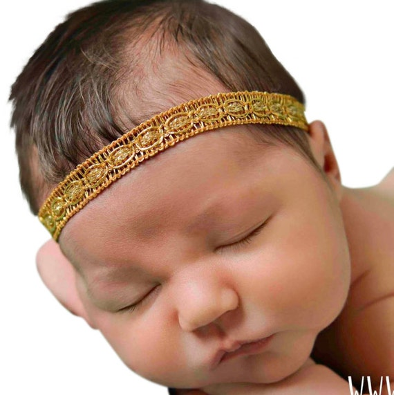 Baby Girl Headband, Newborn Headband, Gold Headband, Baby Headband, Baptism Headband, Gold Headbands, Gold Headband Baby, Headband Toddler
