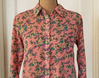 Vintage 1990's Semi Sheer Long Sleeve Monteau Floral Print Blouse