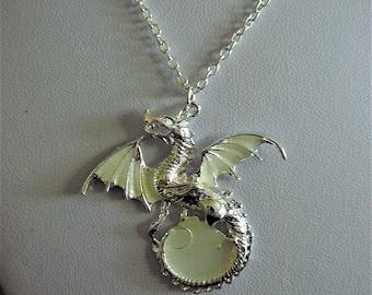 Silver Luminous Dragon Pendant Glow In The Dark