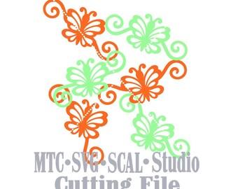 SVG Cut File Butterfly Flourish Set #01 Design #03 Spring MTC SCAL Cricut Silhouette Cutting Files