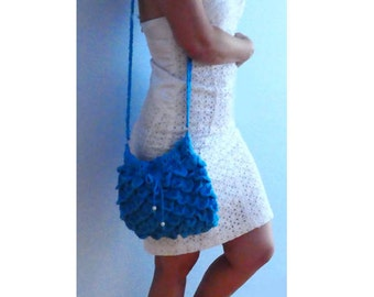 Turquoise scales crochet handbag. Mermaid blue purse. Boho women crochet bag, blue crochet clutch- Petals shoulder handbag.Women mermaid bag