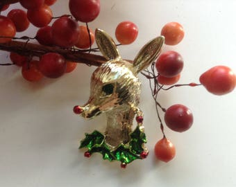 Gerry's Rudolf The Red Nose Reindeer Pin Brooch Vintage Enamel Rhinestone Holly BerriesTextured 60s Holiday Christmas Winter Xmas Stock