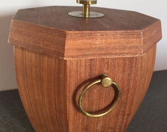 Vintage wooden teak style ice bucket with patina brass top and handles