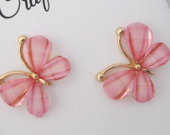 2 Pink and Gold Butterflies flatback - set of 2 - attach to bows or headbands