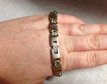 Vintage Costume Silvertone and Goldtone Link Bracelet with Green Rhinestones