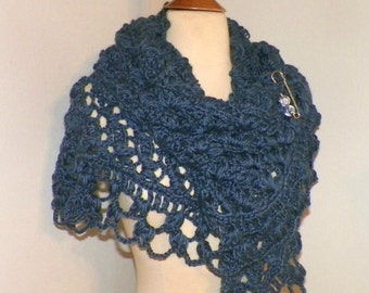 Blue Shawl Triangle Scarf Crochet Oversized Boho Festival Cowl Wrap Scarf Wrap With Brooch