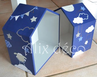 Shelves cabins wooden kids: sheep and its stars (made to order)
