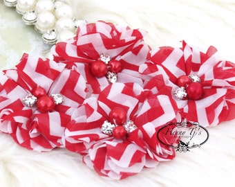 NEW: 4 pcs Aubrey RED White Chevron Patterned  - Soft Chiffon with pearls and rhinestones Layered Small Fabric Flowers, Hair accessories