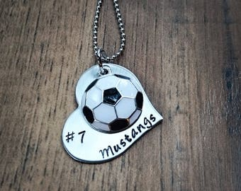 Hand Stamped Personalized Soccer Necklace - Girls Soccer Gifts - Soccer Gifts - Senior Gift - Soccer Team Gift