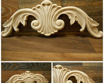 "Carved Wood Onlay -  15-1/16""W  or 12 1/16"" -Hand Carved Applique-Maple ref.Mo16s"