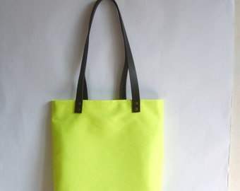 Neon yellow tote bag, leather handles, beach bag, large summer bag